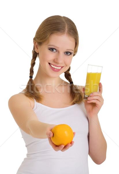 Güzel genç kadın tok hayat portakal suyu yalıtılmış Stok fotoğraf © evgenyatamanenko
