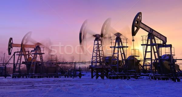 Olaj naplemente égbolt panoráma ipar energia Stock fotó © EvgenyBashta