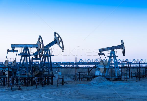 нефть области насос группа закат небе Сток-фото © EvgenyBashta