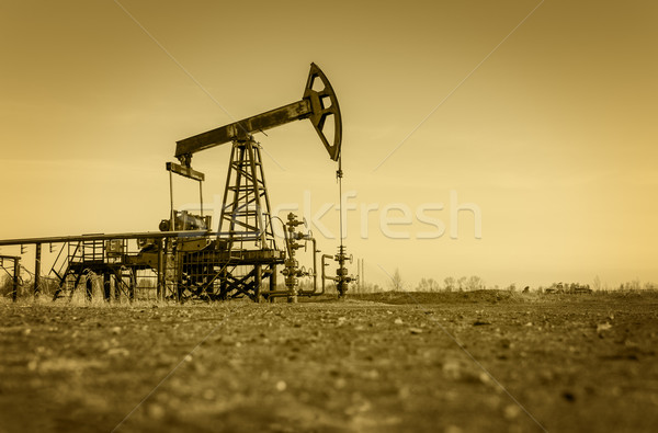 Oil pump on a oil field. Stock photo © EvgenyBashta