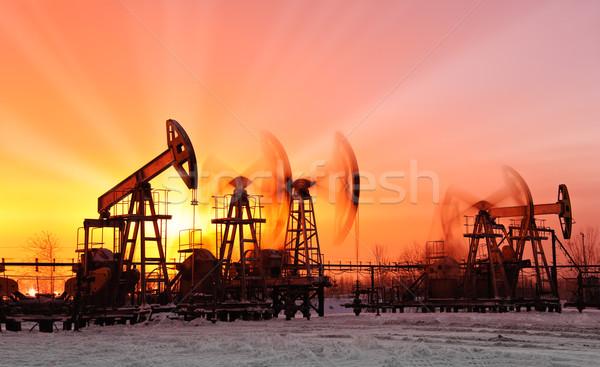 Olaj naplemente égbolt ipar energia sziluett Stock fotó © EvgenyBashta