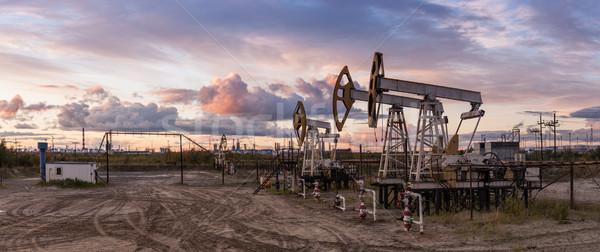 Panorámakép olaj olajfúró torony benzin ipar olajfinomító Stock fotó © EvgenyBashta