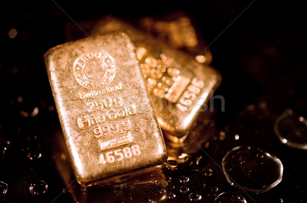 Arany három vízcseppek fekete sekély pénzügy Stock fotó © EvgenyBashta