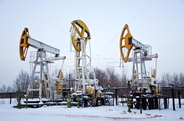 нефть полях производства снега промышленности рабочих Сток-фото © EvgenyBashta