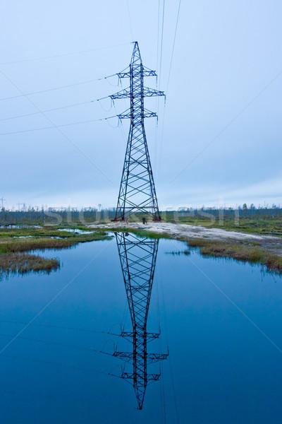 Hoogspanning toren hemel bouw landschap ontwerp Stockfoto © EvgenyBashta