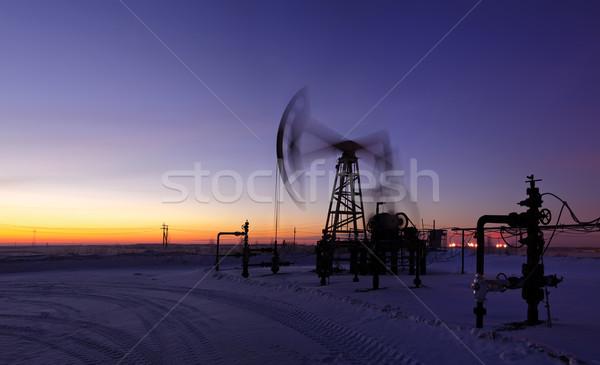 Platforma wiertnicza działania wygaśnięcia niebo długi czas ekspozycji Zdjęcia stock © EvgenyBashta