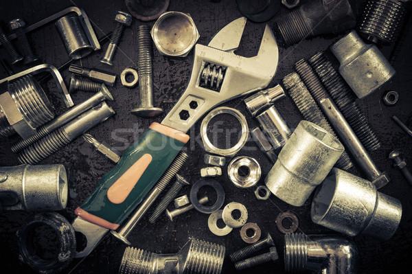 Clé noix grunge outils clé à molette résumé Photo stock © EvgenyBashta