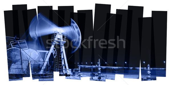 Pump jack and wellhead. Toned collage. Stock photo © EvgenyBashta