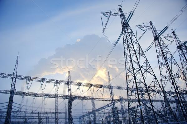 Távvezeték üzlet égbolt felhők technológia füst Stock fotó © EvgenyBashta