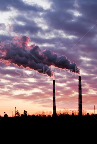воздуха загрязнения промышленных небе закат промышленности Сток-фото © EvgenyBashta