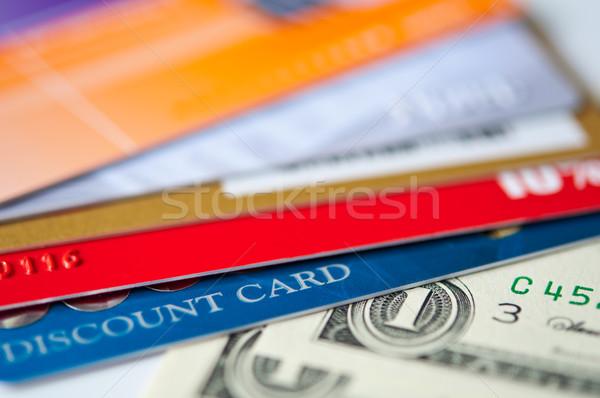 Műanyag kártyák pénz fényes árengedmény usd Stock fotó © EvgenyBashta