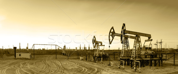Panoramic oil pumpjack. Stock photo © EvgenyBashta