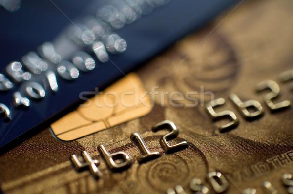 Hitelkártyák kettő keskeny fókusz közelkép pénzügy Stock fotó © EvgenyBashta