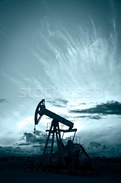 Pumpa olaj benzin ipar sziluett naplemente Stock fotó © EvgenyBashta