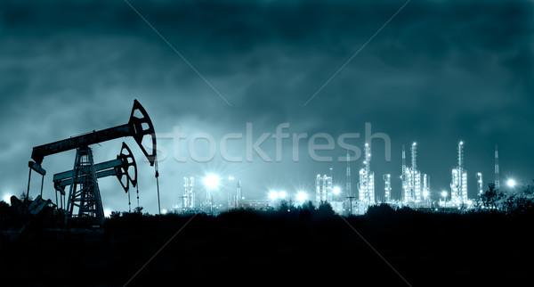 Pump jack and grangemouth refinery at night. Stock photo © EvgenyBashta
