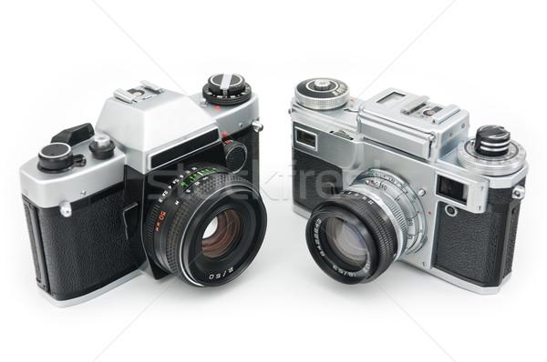 Film fényképezőgépek kettő klasszikus izolált fehér Stock fotó © EvgenyBashta