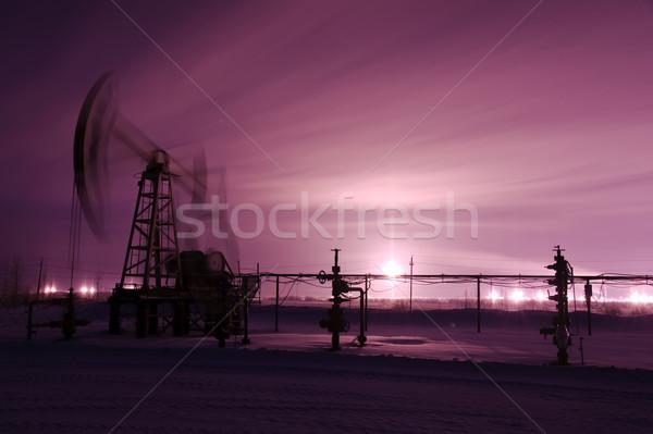 насос нефть газ промышленности монохромный зима Сток-фото © EvgenyBashta