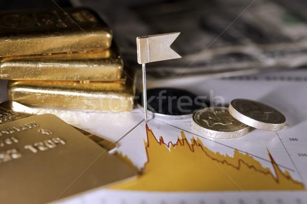 Névjegyek érmék arany pénzügyi iratok csekk Stock fotó © EvgenyBashta