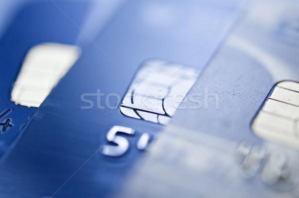 Hitelkártya sültkrumpli kék hitelkártyák közelkép szelektív fókusz Stock fotó © EvgenyBashta
