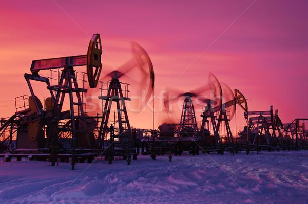 Olaj benzin ipar pumpa naplemente égbolt Stock fotó © EvgenyBashta