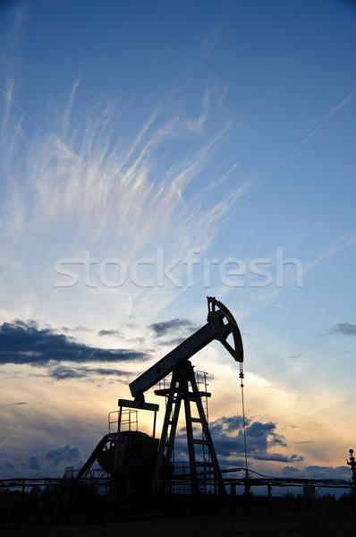 Pompen olie gas industrie silhouet zonsondergang Stockfoto © EvgenyBashta