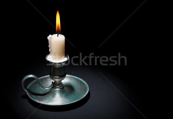 Candela vecchio tin candeliere nero fuoco Foto d'archivio © EvgenyBashta