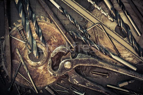 Különböző szerszámok klasszikus öreg asztali textúra Stock fotó © EvgenyBashta