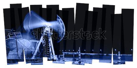 Pump jack and wellhead. Toned blue. Stock photo © EvgenyBashta