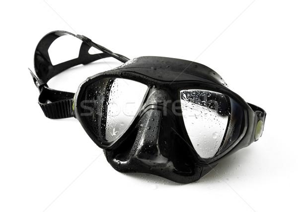 черный дайвинг маске влажный изолированный белый Сток-фото © EvgenyBashta