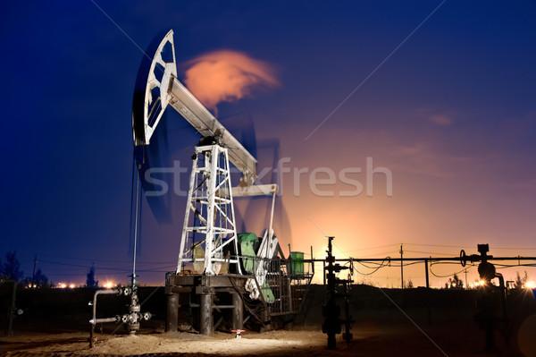 Platforma wiertnicza noc oleju działania gazu Zdjęcia stock © EvgenyBashta