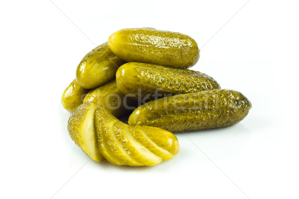 pickled cucumbers. Gherkins on a white background Stock photo © EwaStudio