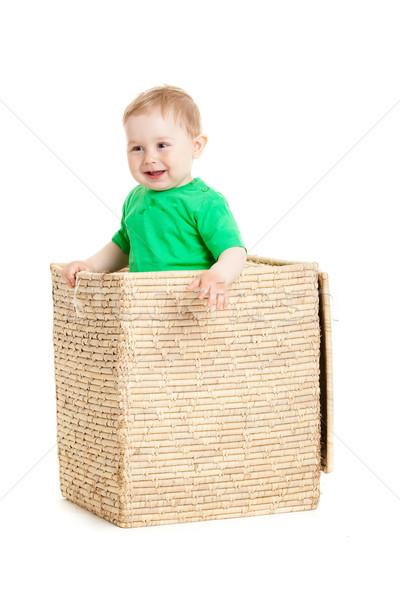 Kicsi fiú bent doboz fehér üzlet Stock fotó © EwaStudio