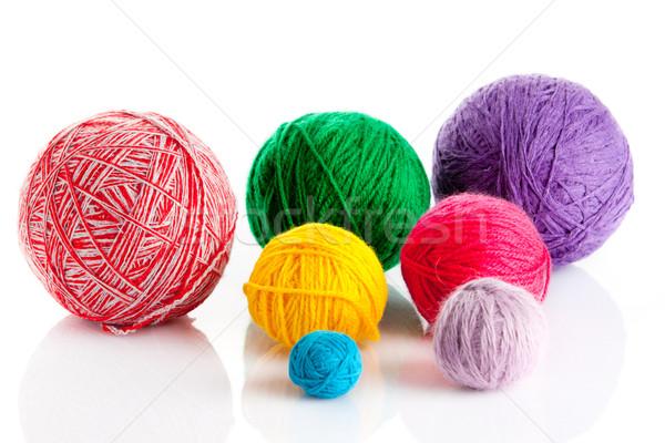 colorful different thread balls. wool knitting on white backgrou Stock photo © EwaStudio