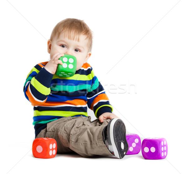 Baba játszik játékok fehér vicces kicsi Stock fotó © EwaStudio