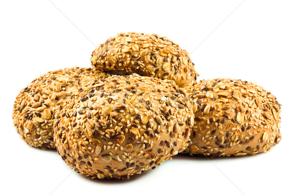 Stock photo: round wholemeal bread. resh buns with different seeds.
