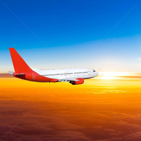 Airplane in the sky at sunset. A passenger plane in the sky Stock photo © EwaStudio