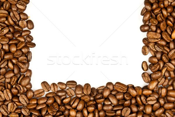 Café fronteira marrom grãos de café isolado branco Foto stock © EwaStudio
