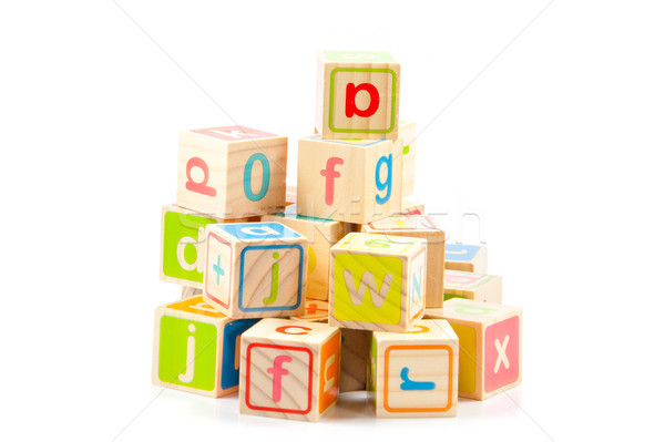 Wooden alphabet blocks. Baby Blocks Stock photo © EwaStudio