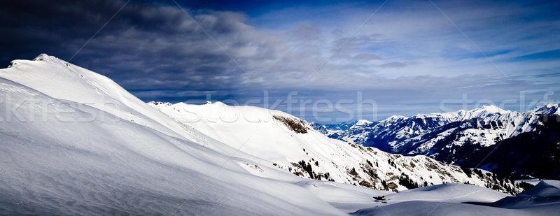 Panorama of Snow Mountain. Winter in the swiss alps. Stock photo © EwaStudio
