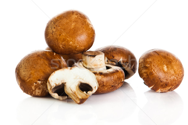 Frischen Pilz champignon isoliert weiß Essen Stock foto © EwaStudio