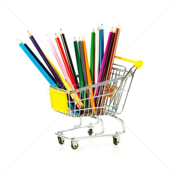 Cor lápis carrinho de compras escolas fundo verde Foto stock © EwaStudio