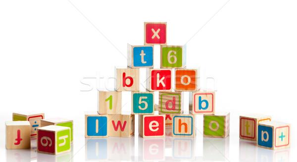 Houten speelgoed brieven houten alfabet blokken Stockfoto © EwaStudio