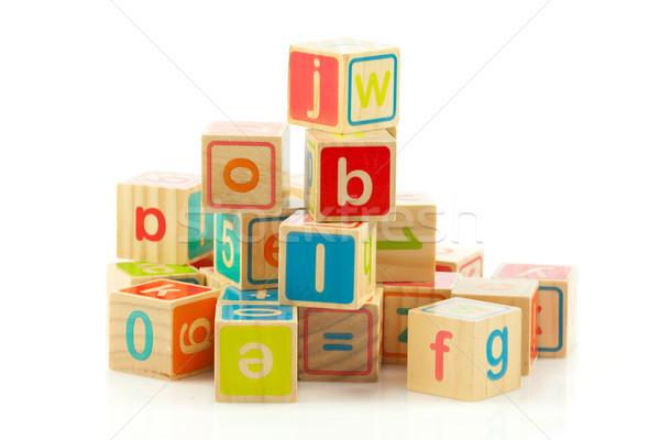 деревянная игрушка письма алфавит блоки Сток-фото © EwaStudio