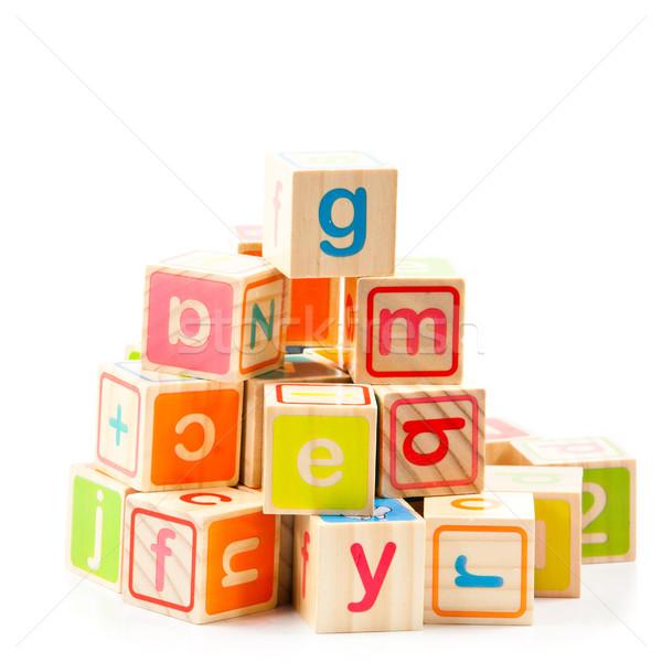 Holz Alphabet Blöcke Baby Holz Schule Stock foto © EwaStudio