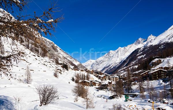 Güzel kış manzara İsviçre gökyüzü şehir Stok fotoğraf © EwaStudio