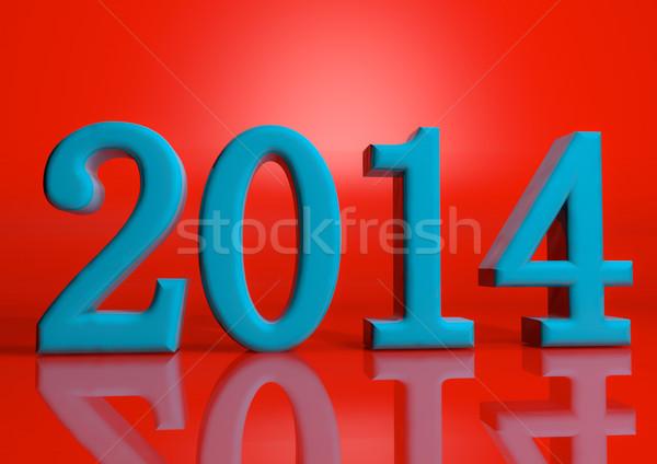 Neujahr 2014 glücklich rot Tapete weiß Stock foto © EwaStudio