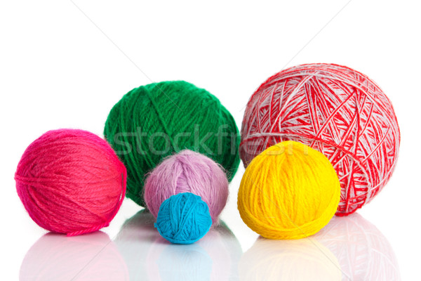 Stock photo: colorful different thread balls.   wool knitting on white backgr