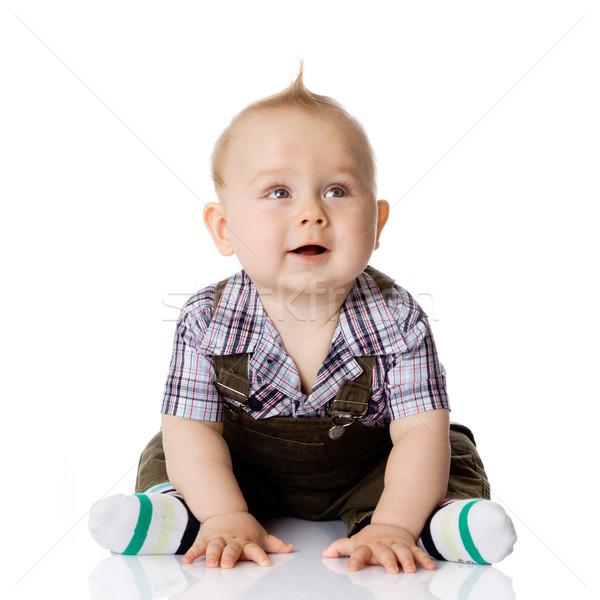 Bebê menino isolado cara cabelo estúdio Foto stock © EwaStudio