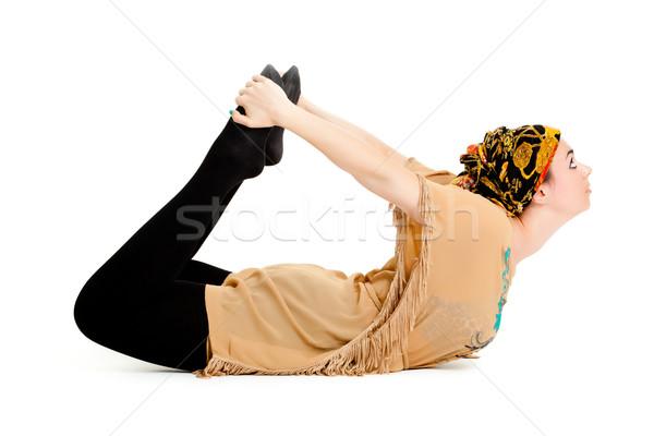 Nő jóga izolált fehér fitnessz testmozgás Stock fotó © EwaStudio