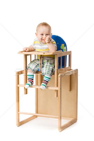 Baby Sitzung Abendessen Junge weiß Person Stock foto © EwaStudio